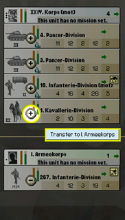 Click the plus and minus icons to transfer units between two formations.